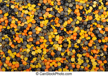 mix of four types of lentils - background of mix of four...