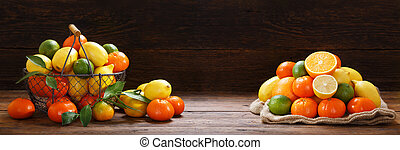 fresh fruits in a basket on wooden table
