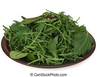 Mix of fresh lettuce, chard, arugula, mizuna, top view isolated on white background