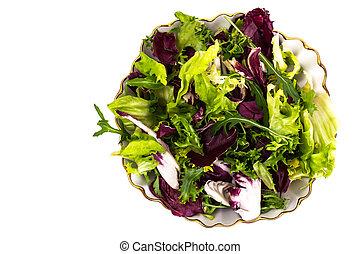 Mix of fresh lettuce on white background