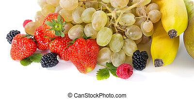 Mix of fruits on white background