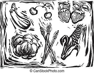 Mix of garden produce - Eggplant, cherry, strawberries,...
