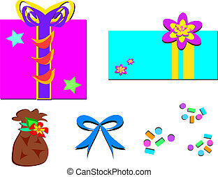 Mix of Gifts, Bag, Bow, and Confett