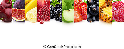 Mix of healthy food with copy space, fruits and berries collection
