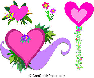 Mix of Hearts and Decorations