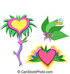 Mix of Hearts, Plants, and Bee
