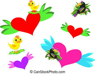 Mix of Hearts, Wings, and Birds