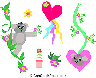 Mix of Koalas, Hearts, and Flowers