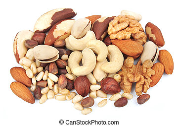 Mix of nuts on white closeup