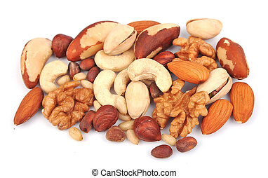 Mix of nuts close up on white