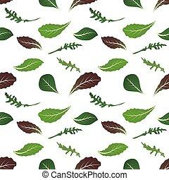 Mix of salad leaves. Arugula, spinach, lettuce leaf,...