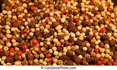 Mix of spices: red black white green hot pepper - Colorful...