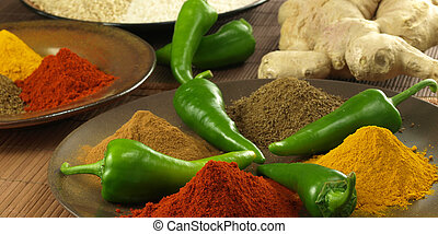 Mix of spices - Panorama of mixed different spices and roots