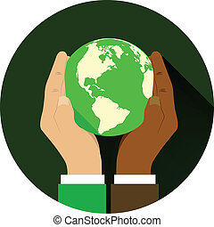 mix of two different races holding hands globe.
