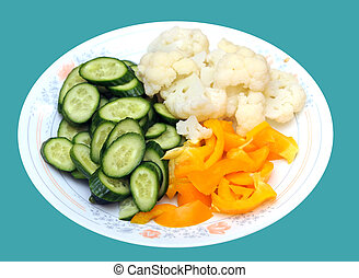 vegetable dish - mix of vegetable dish isolated on green ...