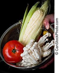 Mix of vegetables on black