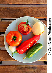 Mix of vegetables on the wooden table