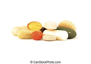 Mix of vitamin supplements - Various vitamins and herbal...