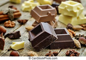 mix of white, milk and dark chocolate
