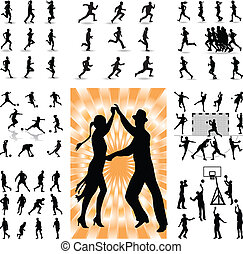 mix people silhouette vector