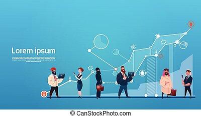 Mix Race Business People Group Using Gadgets Finance Graph Financial Success Concept