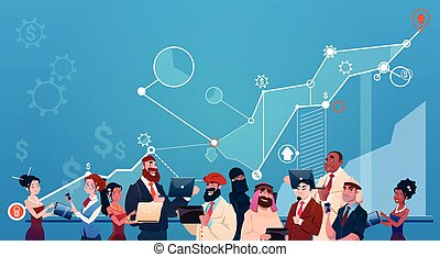 Mix Race Business People Group Using Gadgets Finance Graph Financial Success Concept