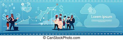 Mix Race Business People Group Wear Virtual Reality Glasses Finance Graph Financial Success Concept