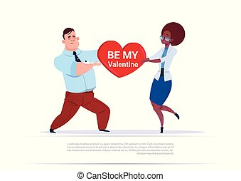 Mix Race Couple Holding Heart Shape, Be My Valentine Greeting Love Day Holiday Concept