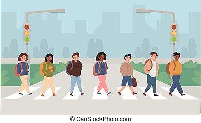 Mix race, multi ethnic children crossing street along crosswalk. School pupil walking across pedestrian crossing. Road safety rules for kids, educational illustration. Vector flat.