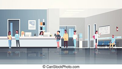 mix race patients standing line queue at hospital reception desk waiting hall doctors consultation healthcare concept medical clinic interior full length horizontal flat