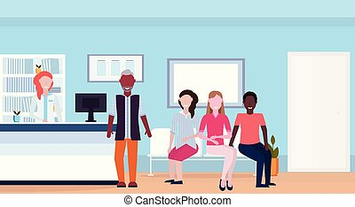 mix race patients with doctor at hospital reception desk waiting hall medical clinic interior full length horizontal flat