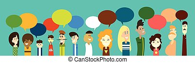 Mix Race People Group Chat Bubble Communication Social...