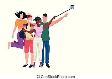 mix race people group taking selfie photo with self stick by smartphone camera women and men best friends posing friendship concept full length flat horizontal