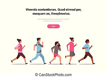 mix race people jogging active sport men women fitness run training world health day concept healthy lifestyle flat isolated horizontal copy space