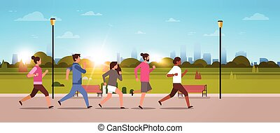 mix race people jogging active sport men women fitness run training world health day concept healthy lifestyle flat urban city park horizontal