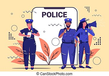 mix race police officers team standing together security authority justice law service concept smartphone screen online mobile application sketch full length horizontal