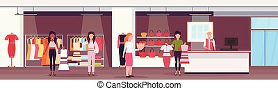 mix race women customers choosing dresses and handbags fashion boutique big shop female clothes shopping mall interior cartoon characters full length flat horizontal