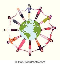 mix race women holding hands around globe international friendship concept girls surrounding world white background