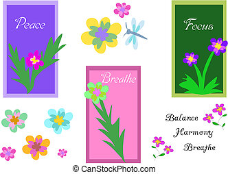 Here is a mix of signs, flowers, dragonfly, and text.