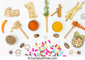 Mix spices on white background.