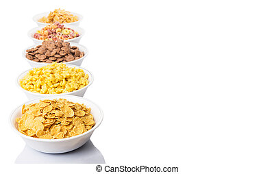 Mix variety of breakfast cereals over white background