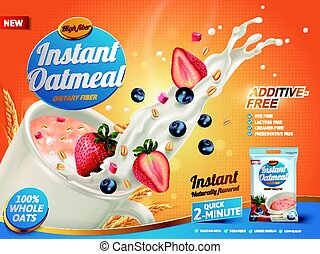 mixed berry oatmeal ad - oatmeal ad, with milk splashing and...