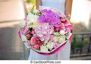 Mixed bouquet and bride close up no face - Beautiful mixed...