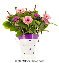 Mixed bouquet flowers in vase