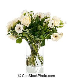 Mixed bouquet white flowers isolated over white background