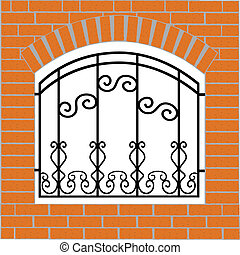 Mixed brick iron fence