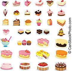 mixed cakes and dessert illustrations