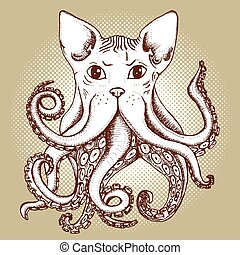 Mixed cat and octopus in vintage style