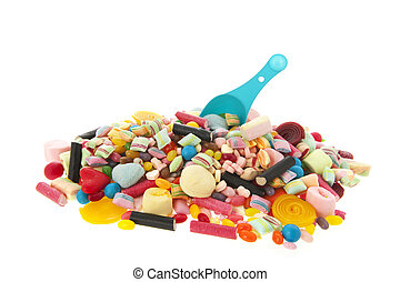 Mixed colorful candy on white background
