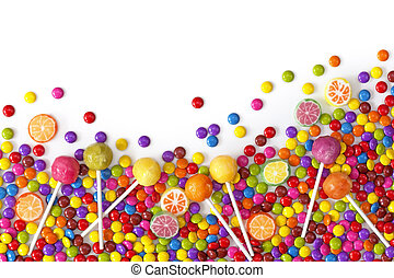 Mixed colorful sweets close up